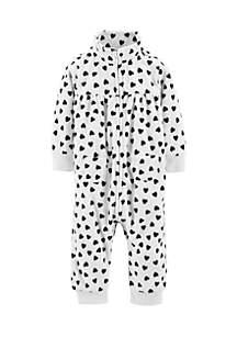 Baby Girls Heart Fleece Jumpsuit
