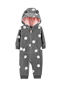 Baby Girls Polka Dot Hooded Fleece Jumpsuit