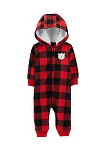 Baby Girls Buffalo Check Zip-Up Fleece Jumpsuit