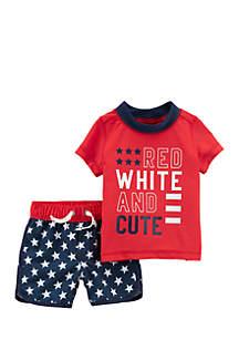 Boys Infant 2-Piece 4th Of July Rashguard and Swim Trunk Set