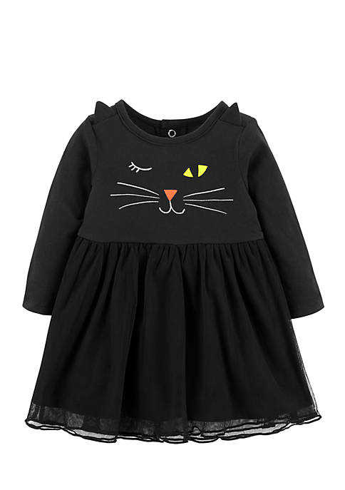 Carter's® Girls Infant Halloween Cat Jersey Dress