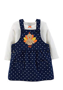 Girls Infant 2-Piece Thanksgiving Tee and Jumper Set
