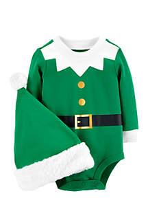 Infant Boys 2-Piece Elf Bodysuit And Hat Set