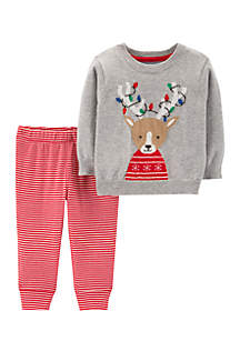 Baby Boys Reindeer Sweater & Striped Pant Set