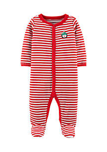 Newborn Boys Christmas Snap-Up Velour Sleep And Play