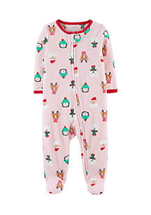 Newborn Girls Christmas Zip-Up Fleece Sleep And Play One-Piece