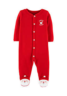 Newborn Boys Christmas Snap-Up Thermal Sleep And Play One-Piece
