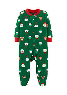Newborn Boys Christmas Zip-Up Fleece Sleep And Play