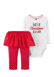 Infant Girls Christmas Bodysuit and Tutu Pant Set