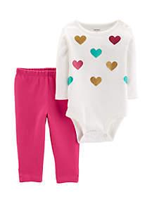 Baby Girls 2-Piece Heart Bodysuit Pant Set