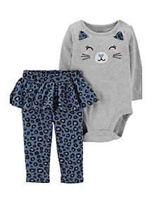 Baby Girls 2-Piece Cat Bodysuit and Tutu Pant Set
