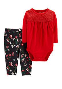 Baby Girls 2-Piece Floral Bodysuit Pant Set