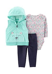 Girls Infant 3-Piece Bear Little Vest Set