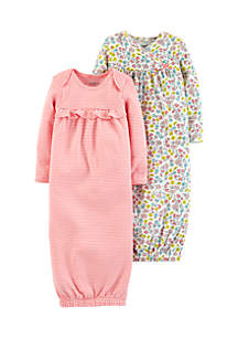 Girls Infant 2-Pack Babysoft Sleeper Gowns