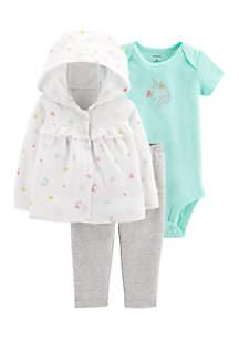 Girls Newborn 3-Piece Little Cardigan Set