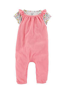 Girls Infant 2-Piece Tee and Tank-Style Jumpsuit Set