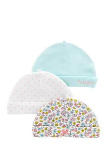 3-Pack Caps Infant Girls