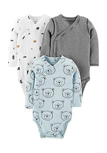 Boys Newborn 3-Pack Side-Snap Bodysuits