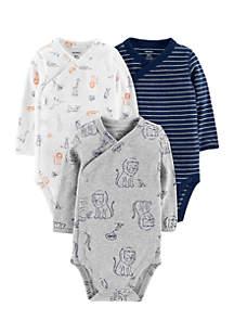 3-Pack Side-Snap Bodysuits Newborn Boys