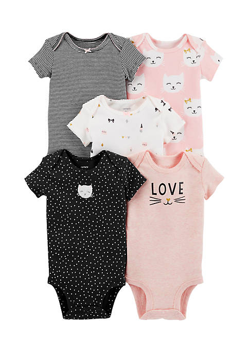 Carter's® 5-Pack Kitty Original Bodysuits Infant Girls