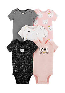 5-Pack Kitty Original Bodysuits Infant Girls