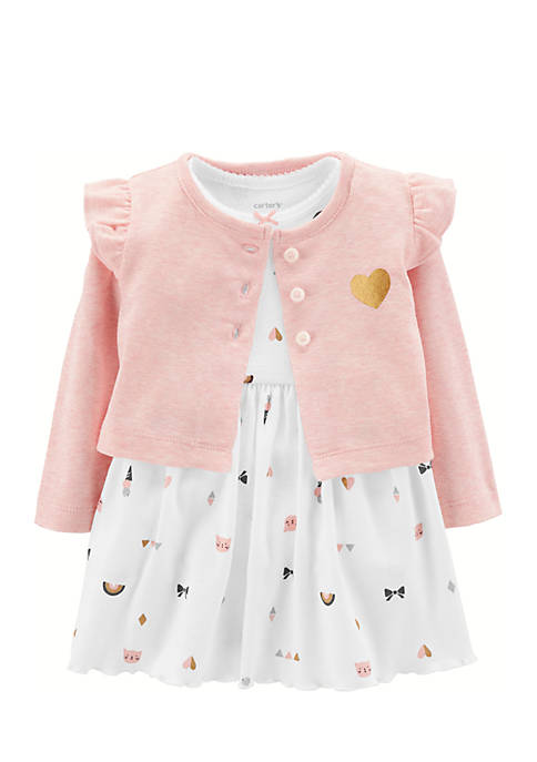 Carter's® Bodysuit Dress And Cardigan Infant Girls