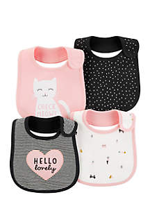 Girls Infant 4-Pack Teething Bibs