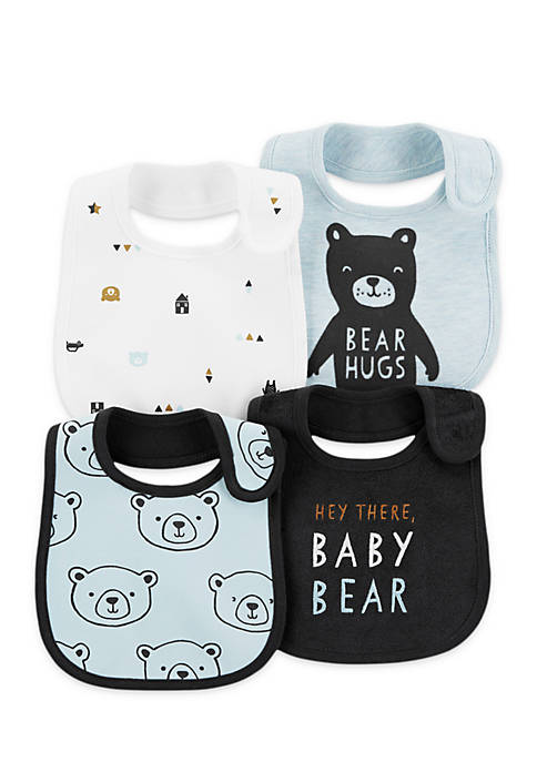 Carter's® 4-Pack Bear Teething Bibs Infant Boys