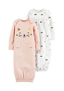 Infant Girls 2-Pack Babysoft Sleeper Gowns