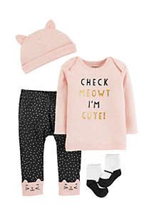 Girls Infant 4-Piece Babysoft Take-Me-Home Set