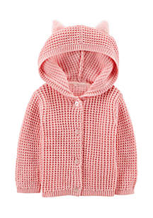 Girls Infant Button-Front Fuzzy Cardigan