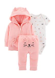 Girls Newborn 3-Piece Terry Little Jacket Set