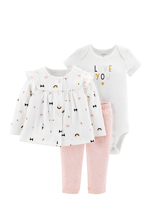 Carter's® Newborn Girls 3-Piece Love You Cardigan Set