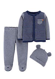 3-Piece Footed Pants Set Newborn Boys