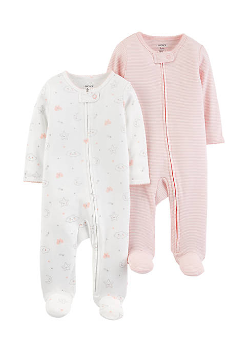 Carter's® Girls Newborn 2-Pack Zip-Up Cotton Sleep &