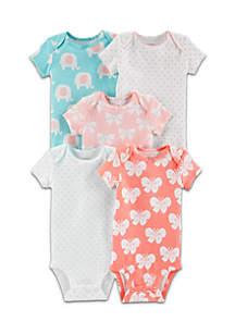 Girls Infant 5-Pack Elephant Original Bodysuits