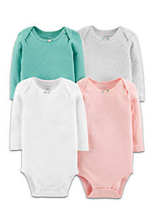 Girls Infant 4-Pack Original Long Sleeve Bodysuits