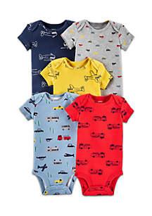 Boys Infant 5-Pack Vehicle Original Bodysuits