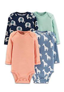 Boys Infant 4-Pack Animal Original Long Sleeve Bodysuits