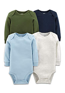 Boys Infant 4-Pack Solid Original Long Sleeve Bodysuits