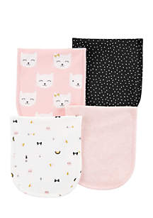 Girls Infant 4-Pack Burp Cloths