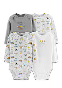 Boys Infant 4-Pack Long-Sleeve Original Bodysuits