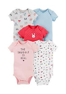 Girls Infant 5-Pack Short Sleeve Original Bodysuits