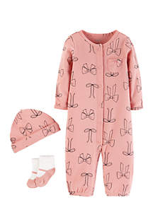 Infant Girls Three-Piece Bow Set