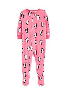 Baby Girls Penguins Fleece Pajamas