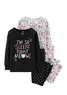Baby Girls Kitty Snug Fit Cotton Pajama Set