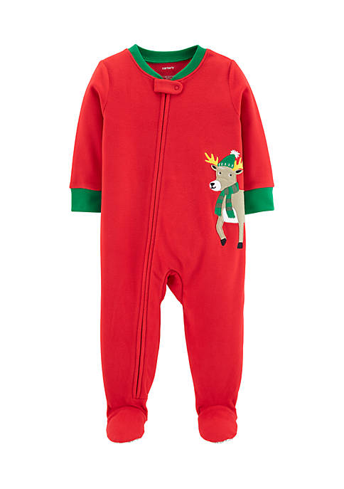 Carter's® Infant Boys 1-Piece Christmas Reindeer Fleece PJs