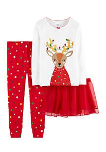 Infant Girls 3-Piece Christmas Reindeer Snug-Fit Cotton PJs