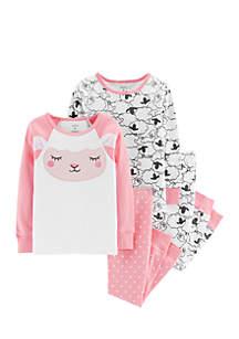 Baby Girls Sheep Snug Fit Cotton Pajama Set