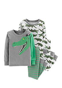 Baby Boys Alligator Snug Fit Cotton Pajamas